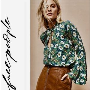 Free People Green Floral Bell Sleeve Top